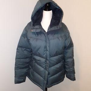 COLUMBIA Puffer Coat Women Sz XL Grey/Slate Green